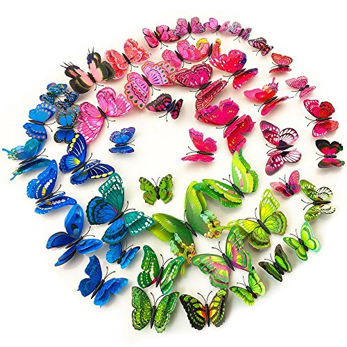 - 48pcs 3D Double Wings Butterfly Wall Stickers Crafts Butterflies with Sponge Magnets And Sponge glue (4 Color)