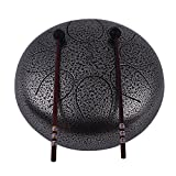 Tongue Drum 10 Inch Steel Muslady Handpan Drum Hand Drum Percussion Instrument with Drum Mallets Carry Bag Note Sticks for Meditation Yoga Zazen Sound Healing
