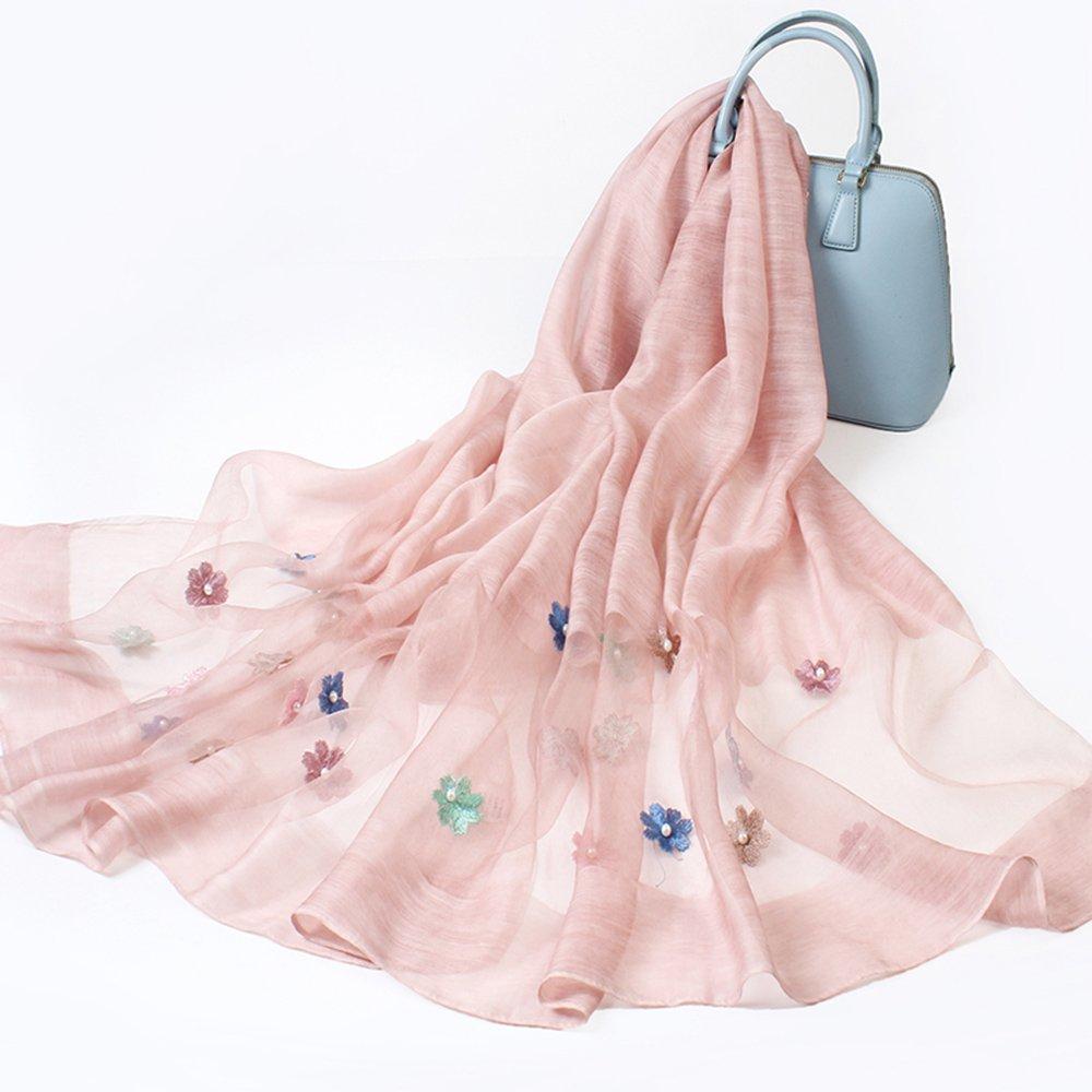 HAIZHEN alla moda alla moda Sciarpe di seta femminili sciarpe ricamate scialli autunno e inverno seta primavera e autunno doppio uso sciarpa 80cm * 190cm regalo Morbido e caldo ( Colore : A )