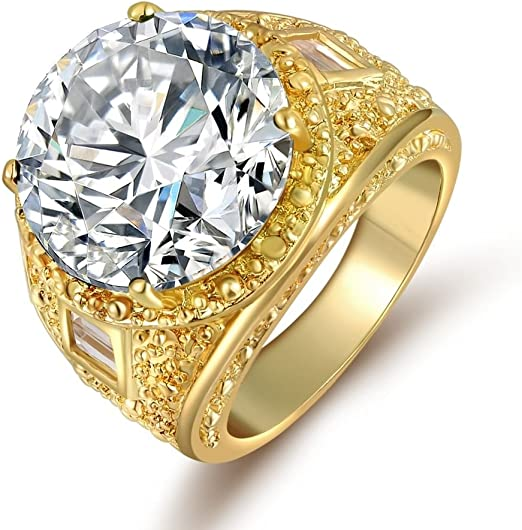 14K Yellow Gold Filled White /& Blue Topaz Men/'s Ring Wedding High Jewelry Sz6-10