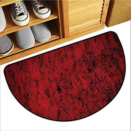 Axbkl Welcome Door mat Red and Black Pillow Sham Artistic Abstract Pattern with Grungy Distressed Look and in Vintage Style Non-Slip Backing W24 xL16 Decorative Standard Printed ()