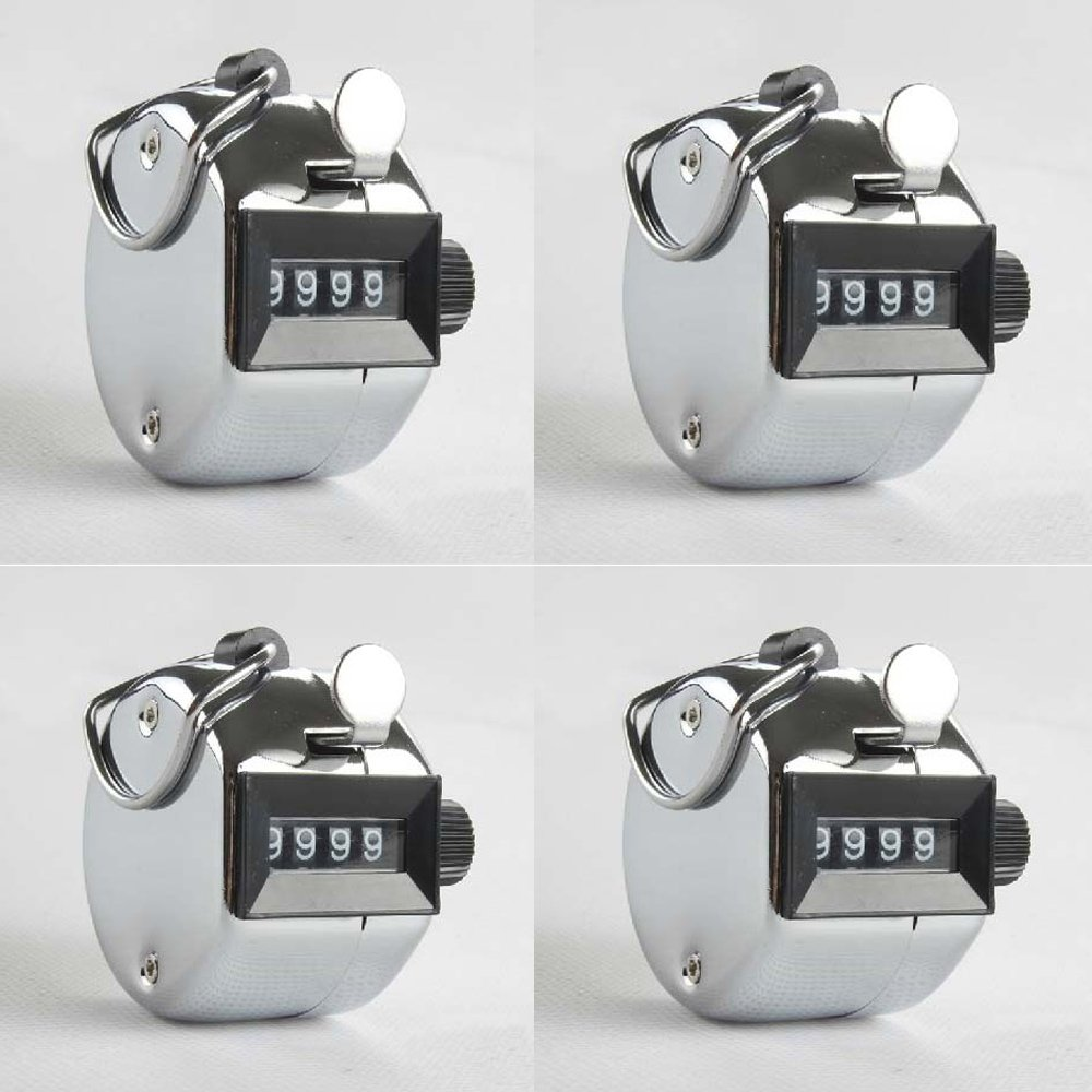 FLYING/_WE Mechanical Lap Tracker Manual Clicker with Finger Ring Hoop Holder 4 Digit Hand Tally Counter Set of 4 Silver