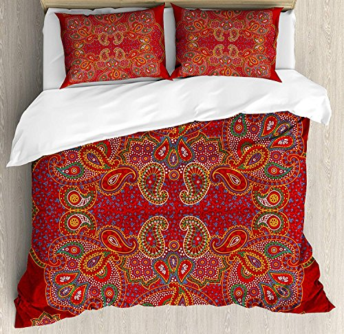 (Red Mandala 4 Piece Bedding Set Queen Size, Moroccan Persian Design Oriental Rectangular Paisley Floral Print, Duvet Cover Set Quilt Bedspread for Childrens/Kids/Teens/Adults, Burngundy Blue and White )