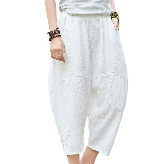 Femmes En Pantalon Les Rétro De Huateng Couleur Lin Pour Unie 3RL4jA5