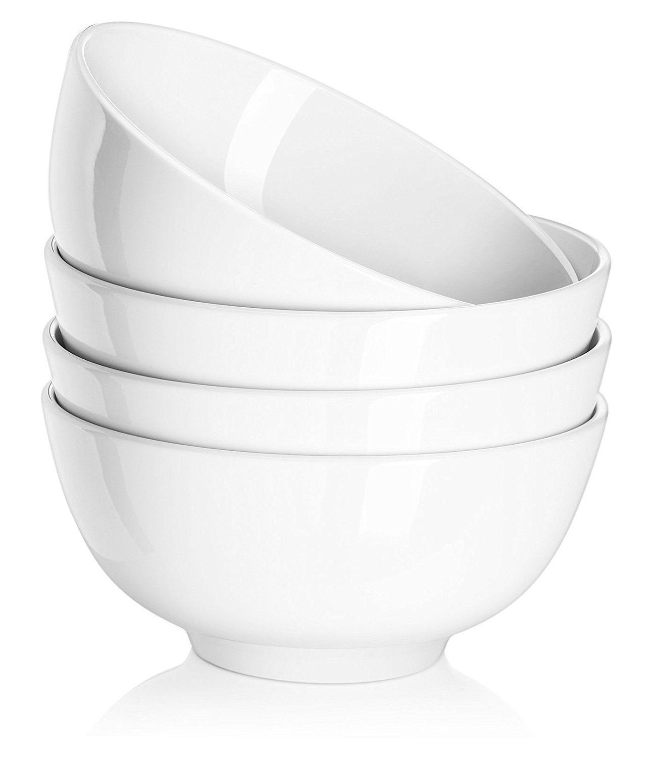 DOWAN 29 Ounce Porcelain Soup and Cereal Bowls, 4 Packs, White