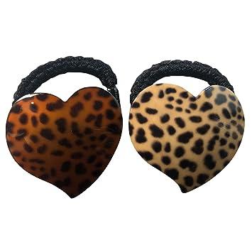 2PCS Women/'s Leopard Scrunchie Ponytail Holder Elastic Soft Hair Band Ring Ties