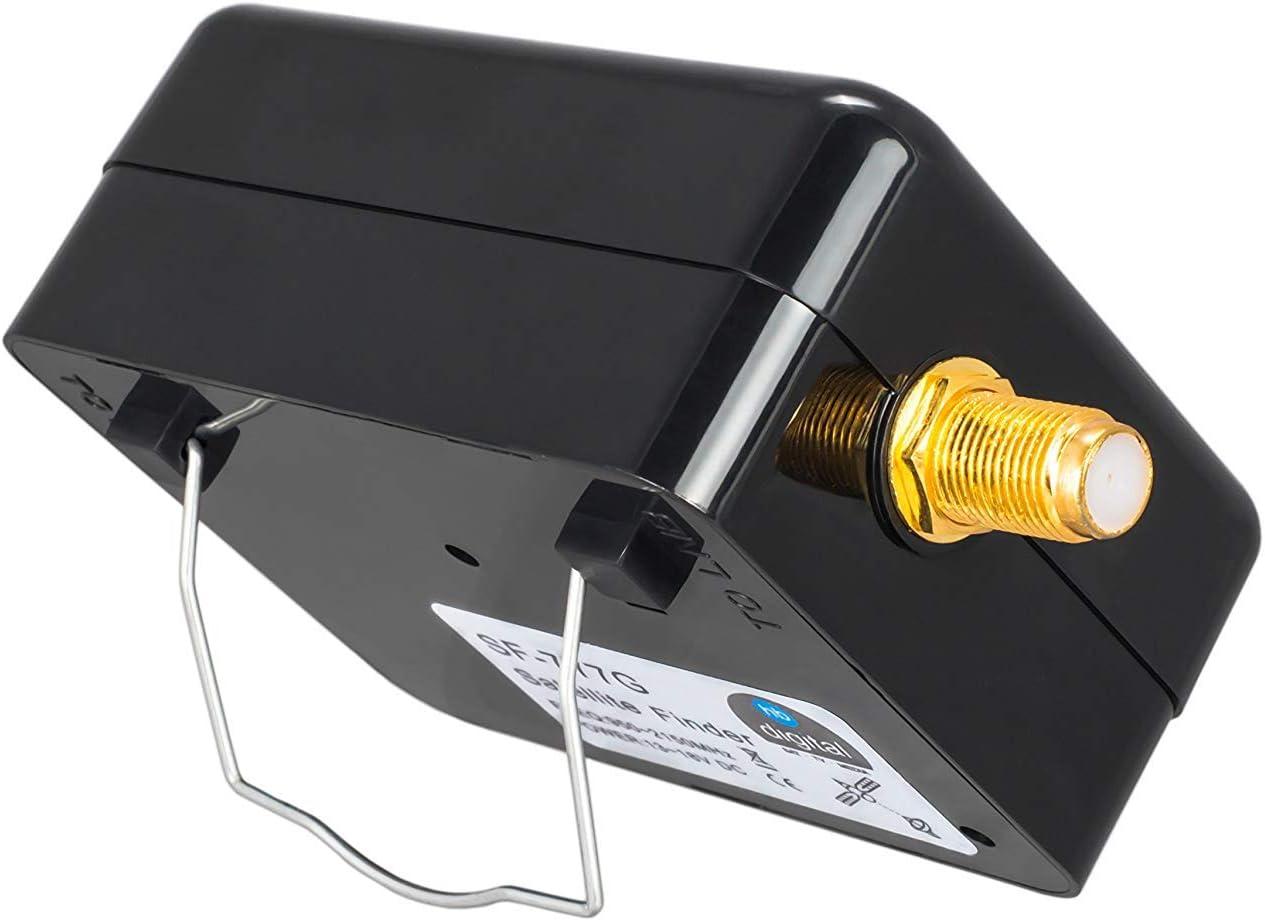 XXL SAT Juego de instalación de satélite con pantalla analógica, 4 ledes, pelacables, llave de montaje, ayuda para girar, 8 F conectores dorados y 4 ...