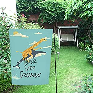 InterestPrint Happy More Custom Never Stop Dreaming Decor - Bandera doble para jardín (28 x 40 pulgadas)