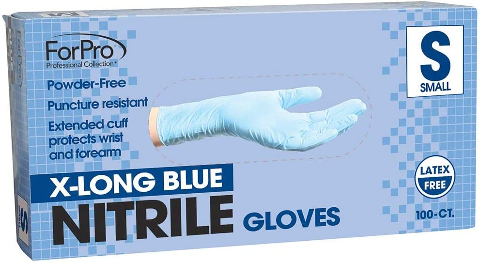 ForPro X-Long Blue Nitrile Gloves, Powder-Free, Latex-Free, Non-Sterile, Food Safe, 7 Mil, Small, 100-Count
