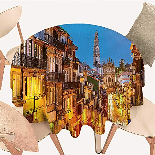 Dragonhome Round Polyester Tablecloth Table Cover Cityscape Toward Church Old Chapel in Porto Mediterranean Town Streets Scenic Home for Most Home Decor, 35 INCH -