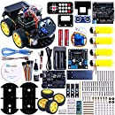 Elegoo Arduino Project Smart Robot Car Kit with Four-wheel Drives, UNO R3, Link Tracking Module, Ultrasonic Sensor, Bluetooth module, Remote, ect. Intelligent and Educational Car for Teens and Adults