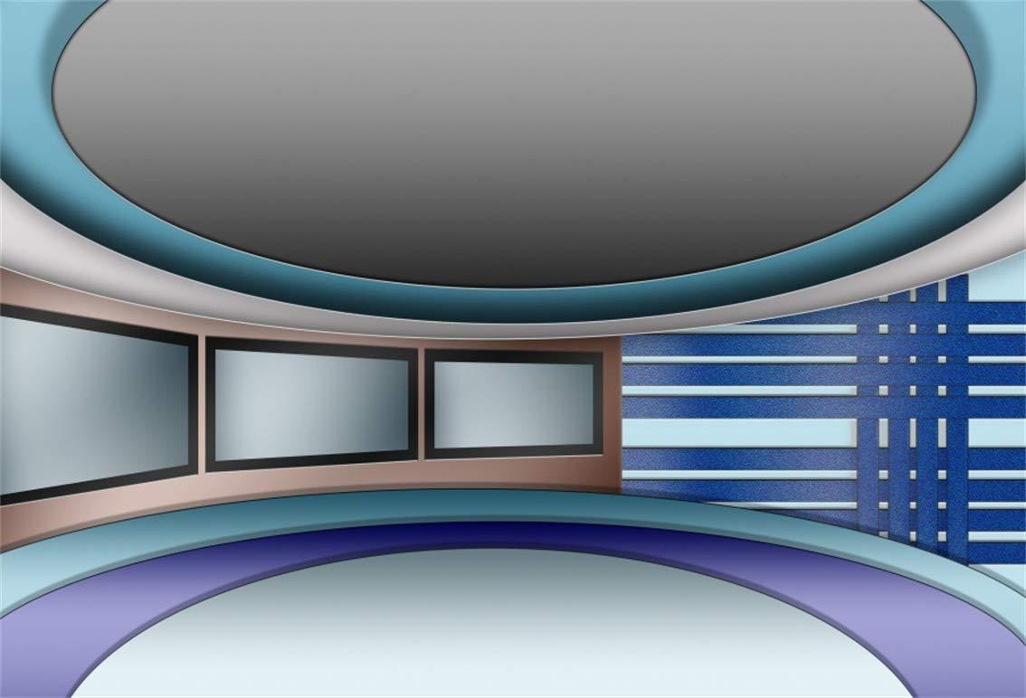 Leyiyi 5×3フィート スタジアムインテリア バックドロップ モダン オフィス 会議場 ニュース ブロードキャスト タレントショー ステージ ロゴ セレブ 写真 背景 ビジネス 勉強 装飾 大人 ポートレート スタジオ 小道具 ビニール 壁紙   B07J55ZM9R
