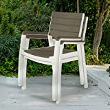 Keter Harmony Indoor/Outdoor Stackable Patio Furniture Armchair Set Modern Wood Style Finish, (Pack of 2 Chairs)