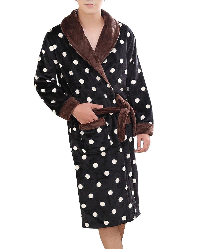 Damen Herren Couple Fleece Bademantel Morgenmantel Nightwear