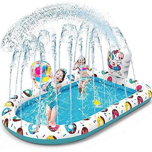chollos oferta descuentos barato VATOS Splash Pad Tapete de Juegos de Agua Piscina Hinchable con Rociadores Piscina con Salpicaduras Tapete Acuático 65 x 43 para Niños de 3 Años Niñas Niños Piscina de Juego de Verano en Jardín