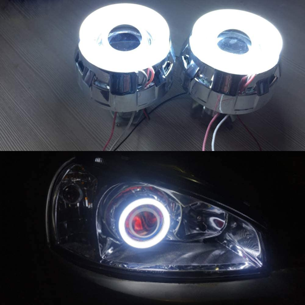 White, 80MM YSY 2-Pack White 60MM 2835 36SMD Car Angel Eyes Light Auto Halo Rings Cotton Lights Lamps Led Headlight with Milk White Shell 12V 24V Y