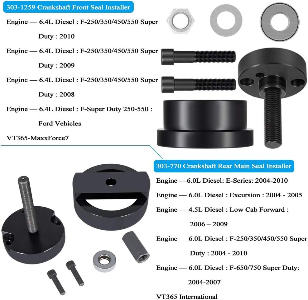 2-Pack Crankshaft Rear Main Seal Installer Tool 303-770 /& Crankshaft Front Seal Wear Ring Installer Tool Alt 303-1259 for Fits for Ford 4.5L 6.0L /& 6.4L Powerstroke Diesel Engines