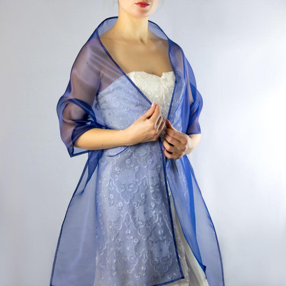 Amazon.com: Organza royal blue stole wrap shawl evening dress accessory: Handmade