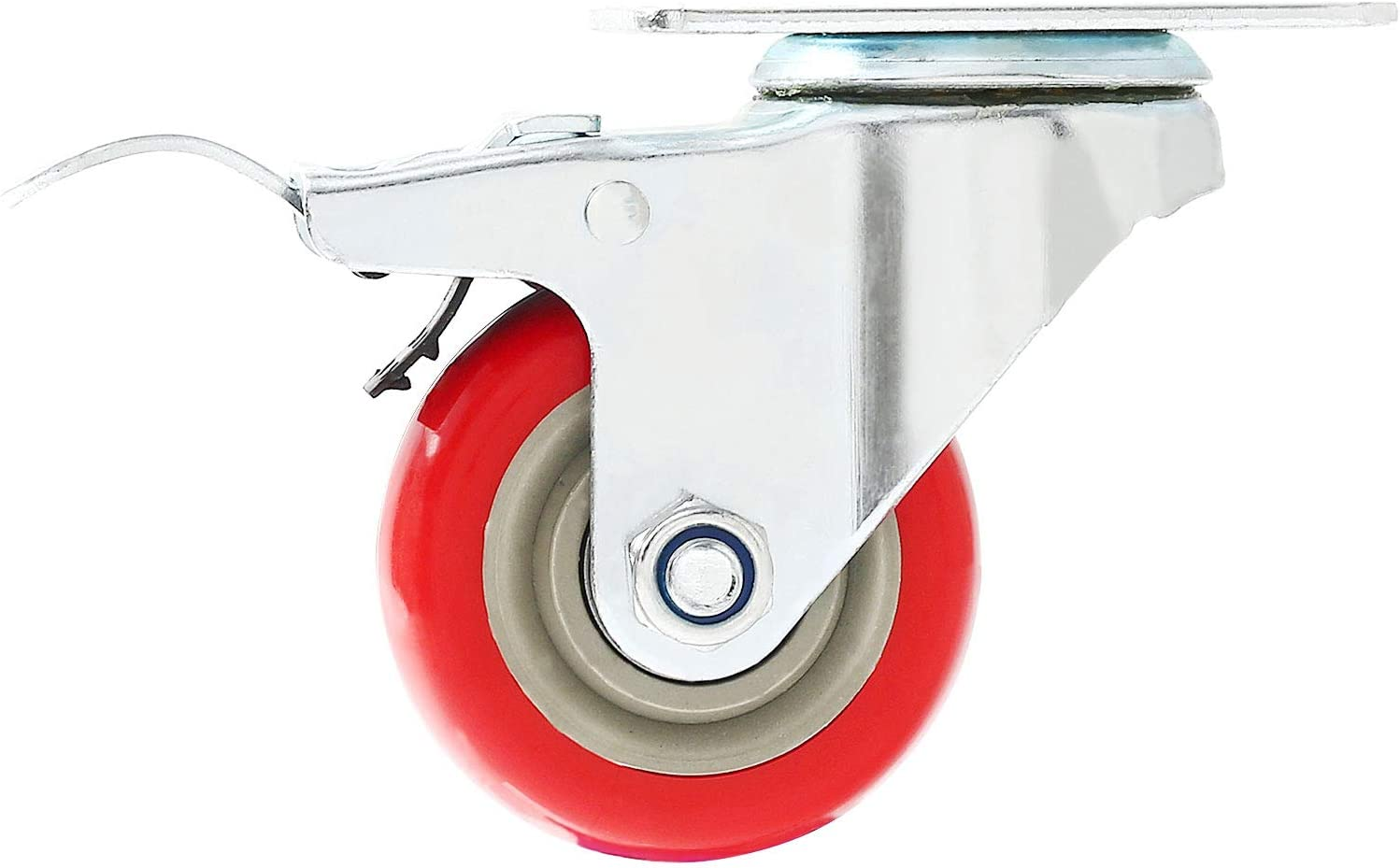 2 No Brake FactorDuty 4 Pack Caster Wheels Swivel Plate On Red Polyurethane Wheels with HD Hardware Kit