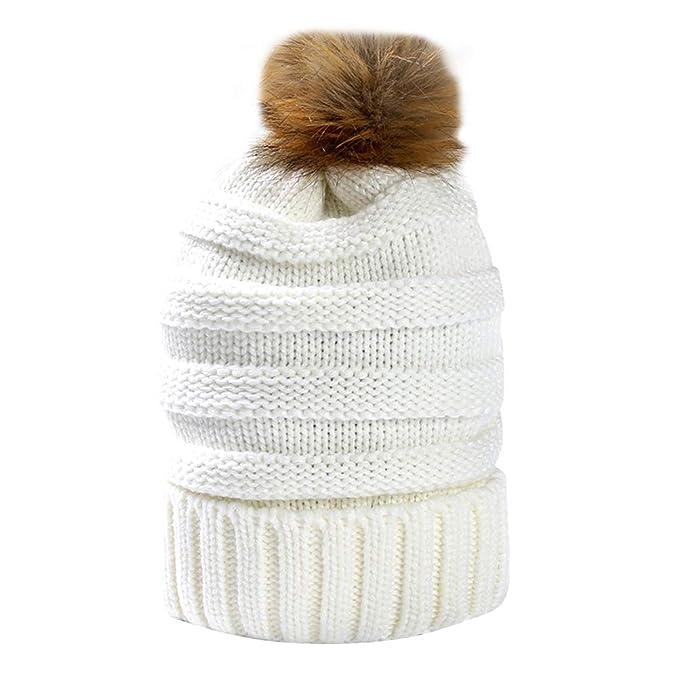 Fenical Cappelli da donna autunno inverno addensato berretto di lana  cappello a maglia con Pom Outdoor 9eef5de82527