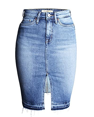 SaiDeng Mujeres Cintura Alta Falda de Mezclilla Vaquera Falda de Cadera Denim Blue L