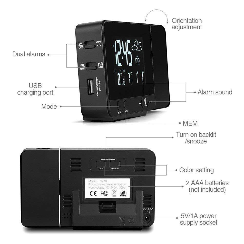 Timer di Standby Deofde Sveglia con proiezione 12 // 24h Orologio Digitale con Doppio Allarme termometro Interno Funzione Snooze Sveglia Digitale con Ampio Display LCD