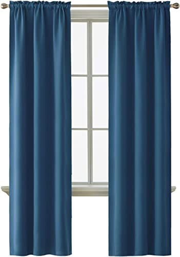 Deconovo Blackout Rod Pocket Drapes and Thermal Insulated Curtains for Kids Bedroom, 52×95 Inch, Dark Blue