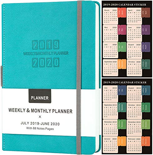 Planner 2019-2020 - Academic Weekly & Monthly Planner, Saffiano Leather with Thick Paper & Pen Holder, Back Pocket with 88 Notes Pages + Gift Box - 5.75
