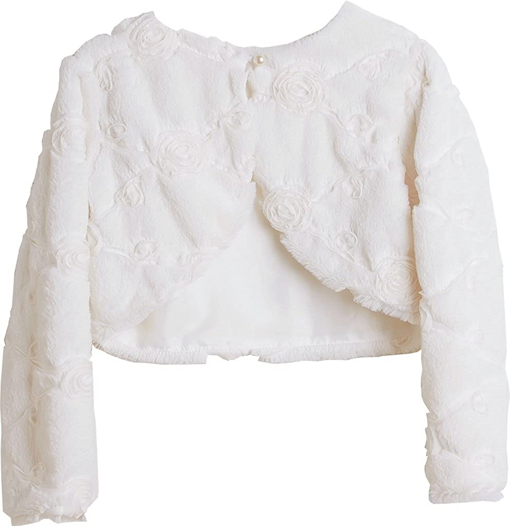 P Dreamer P Little Girls Faux Fur Rose Design Flower Girl Bolero Sweater Jacket Cover