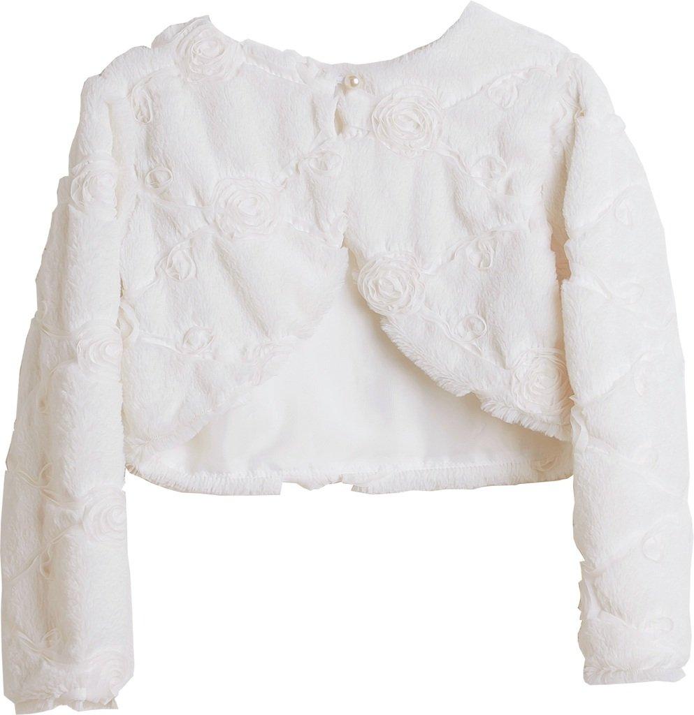Little Girls Faux Fur Rose Design Flower Girl Bolero Sweater Jacket Cover Ivory 2 (SC3K6)