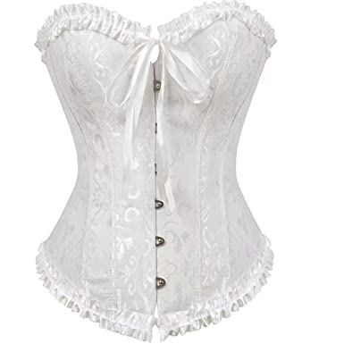 378b786c6d544 Women Satin Bustiers Corsets Wedding Push Up Brocade Pattern Lace Through  Top White S
