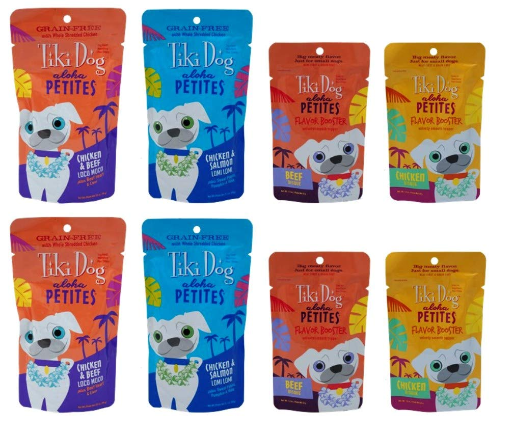 Tiki Dog Aloha Petites Small Breed Grain Free Food/Bosters 4 Flavor Variety 8 Pouch Bundle, 2 Each: Loco Moco, Lomi Lomi, Beef Bisque, Chicken Bisque (1.5-3.5 Ounces)
