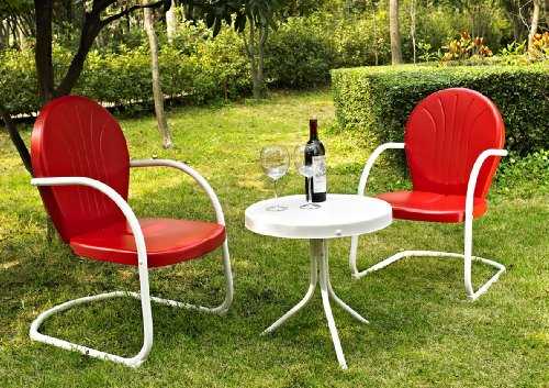 Crosley Furniture Griffith 3 Piece Metal Outdoor Conversation Set With  Table And 2 Chairs   Red