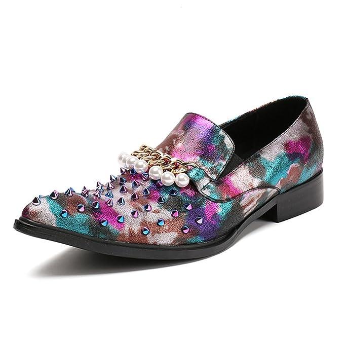 MSFS Remache Colorido De Los Hombres Cadena De Perlas Fiesta De Cuero Negocios Formales Mocasines De Vestir Zapatos De Boda Tamaño 38 A 46,Multicolored ...
