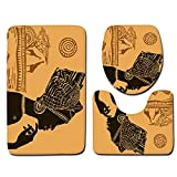 Africa Sexy Woman Skidproof Toilet Seat Bathroom Floor Mat Pedestal Rug + Lid Toilet Cover + Bath Mat 3 Piece