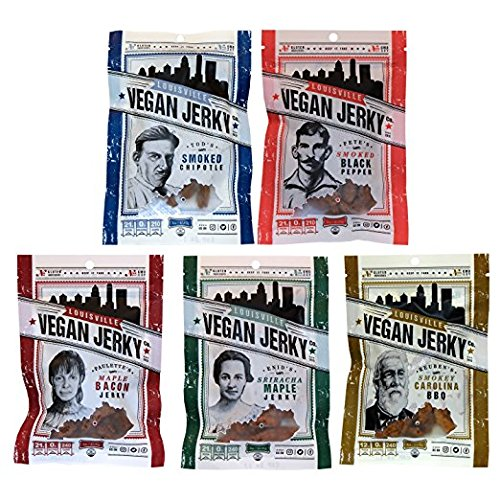 Louisville Vegan Jerky - 5 Flavor Variety Pack, Jerky, 21 Grams of Non-GMO Soy Protein, Gluten-Free Ingredients (Black Pepper, Chipotle, Sriracha Maple, Maple Bacon, & Carolina BBQ, 3 oz.)