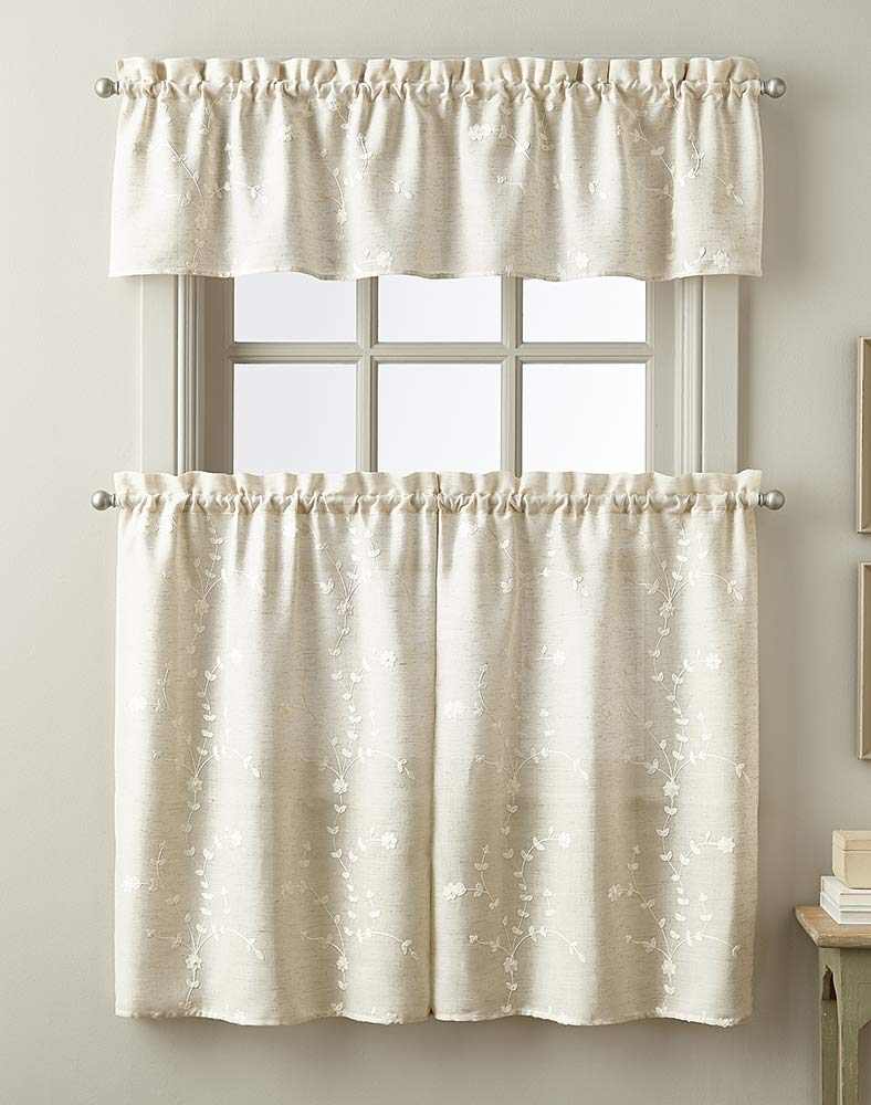 CHF Embroidered Window Kitchen Curtain Tier Pair, Rod Pocket, 28W x 36L inch, Linen