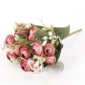5 Ast Par Bouquet Soie Fleur Artificielle Bud The Avec Des Petites