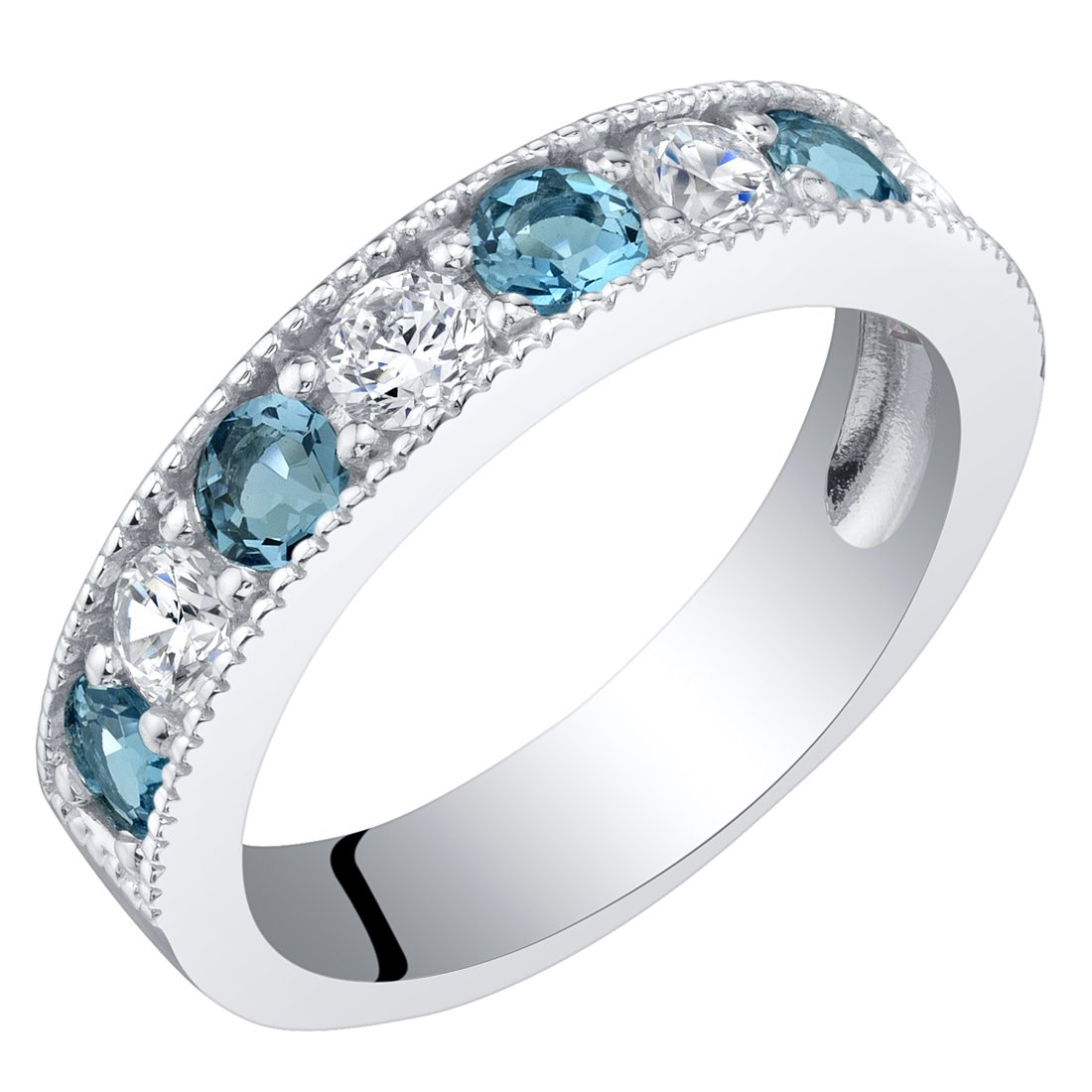 Sterling Silver London Blue Topaz Milgrain Half Eternity Ring Band Size 7