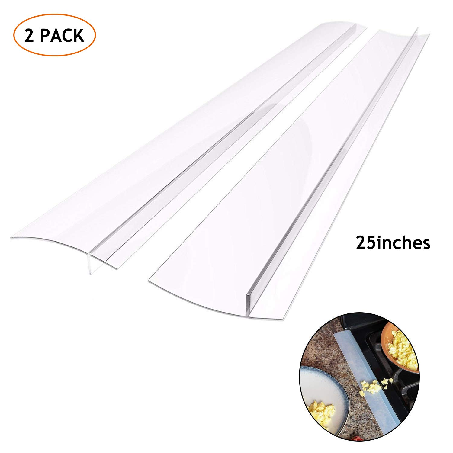 Silicone Kitchen Stove Counter Gap Cover Long & Wide Gap Filler (2 Pack) Seals Spills Between Counters, Stovetops, Washing Machines, Oven, Washer, Dryer | Heat-Resistant and Easy Clean,Semi Clear,25''