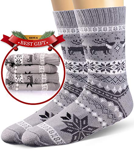 Mens Slipper Socks Fuzzy Warm Thick Heavy Fleece lined Christmas Stockings Fluffy Winter Socks With Grippers (Grey A)