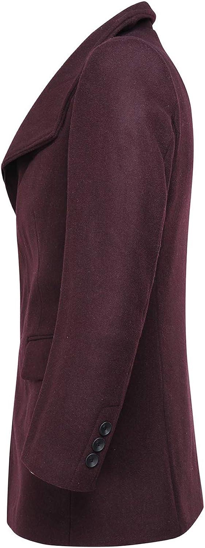 Manteau Homme Hiver Long Laine Chaud Trench-Coat Caban élégant Blouson Parka Veste Slim Fit Casual Coat Couleur Unie Noir/Gris/Marine/Bordeaux XXS-XXXL Bordeaux