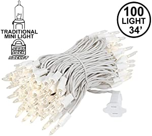 Novelty Lights 100 Light Clear Christmas Mini Light Set, White Wire, 34' Long…
