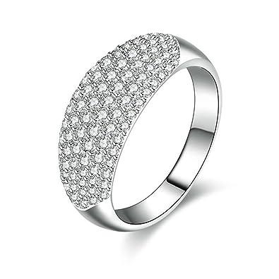 code promo f7dc6 8e57f (Bagues de Mariage)Adisaer Bague Argent 925 Femme Bague de Fiancaille  Diamant Large Zirconium