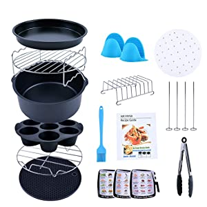"Creativefine Air Fryer Accessories Kit 12 pcs-Roasting Racks with Skewers, Silicone Muffin Pan, 8"" Pizza Pan, 100pcs Parchment Liners, Basting Brush, For 5.3 QT GoWise, Philips, Cozyna or Larger"