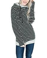Lover-Beauty Women Long Sleeve Striped Hoodie Side Zipper Hooded Pullover Sweatshirt