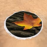 """Pixels Round Beach Towel With Tassels featuring """"Maple Leaf"""" by Scott Norris"""