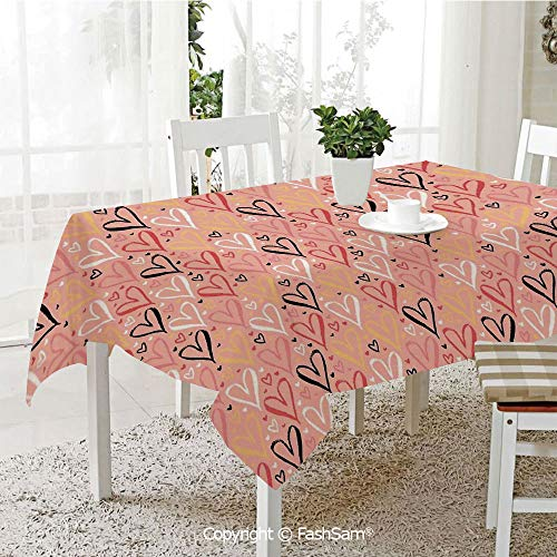 AmaUncle 3D Dinner Print Tablecloths Scribble Little and Big Different Size Heart Forms Love Valentines Mothers Day Theme Resistant Table Toppers (W60 xL84)]()