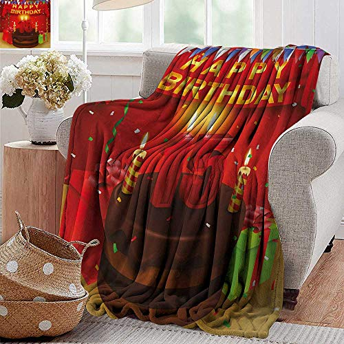XavieraDoherty Throw Blanket for Couch,15th Birthday,Teenage Party Set Up with Colorful Flags Ribbons Balloons and Creamy Cake,Multicolor,Comfortable Soft Material  give You Great Sleep 35