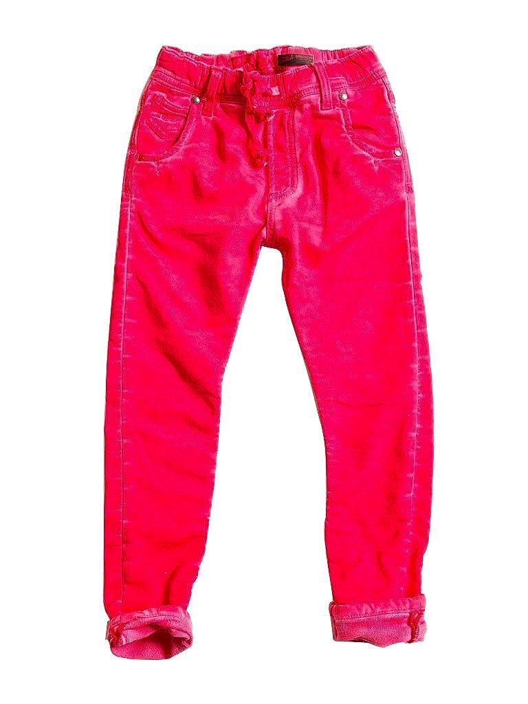 464 - Fraise 5-6 ans (hauteur  116 cm) voiturerera Jeans - Jogger Jeans 750 pour Fille, Style Droit, Couleur Unie, Doubleure Polaire, Taille Slim, Taille Normale